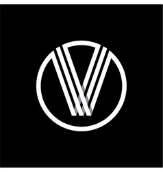 V capital letter of three white stripes enclosed vector image