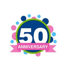 50th anniversary colored logo design happy vector image