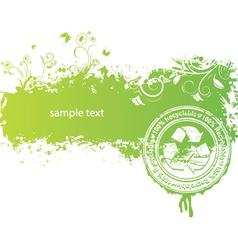 green background with stamp vector image