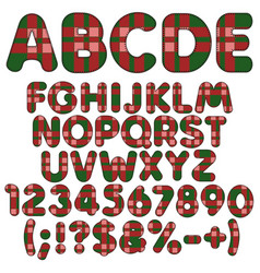 Letters numbers and signs from felt fabric tartan vector