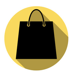 shopping bag flat black icon vector image