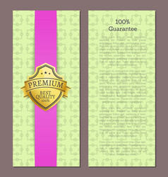 100 guarantee seal with text sample golden label vector image