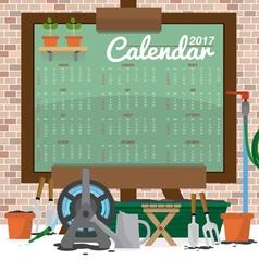 2017 Printable Calendar Starts Sunday Gardening vector image