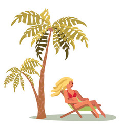 a young woman lies on a lounger vector image