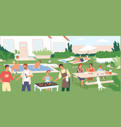 adults and kids spending time in backyard at vector image