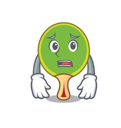 afraid ping pong racket mascot cartoon vector image