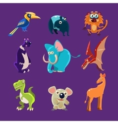 Africa animals and dinosaurs with emotions vector