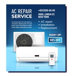 Air conditioner repair service promo banner vector