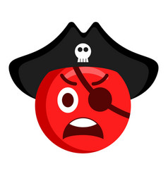 angry pirate emoji with a hat vector image