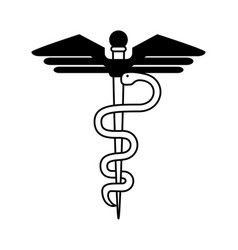 Asclepius rod healthcare icon image vector