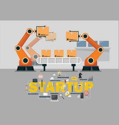 Automation robot arm machine in smart factory vector