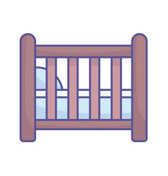 Bashower wooden crib pillow icon vector