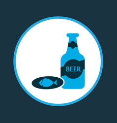 Beer with fish icon colored symbol premium vector