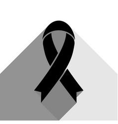 Black awareness ribbon sign black icon vector