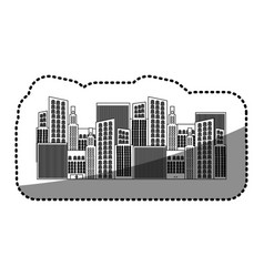 black silhouette sticker of city buildings vector image