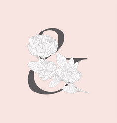Blooming floral ampersand monogram and logo vector