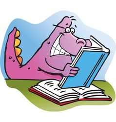 Cartoon Dinosaur Reading a Book vector image