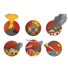 Cartoon set fire extinguishing vector