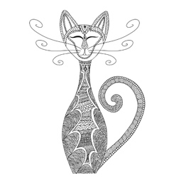cat in entangle style anti-stress coloring vector image