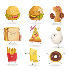 cheerful fast food cartoon characters with human vector image