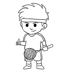 Children playing badminton character style vector