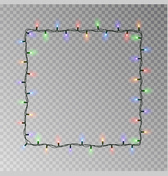 christmas lights square light string frame vector image