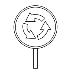 Circular motion traffic sign icon outline style vector