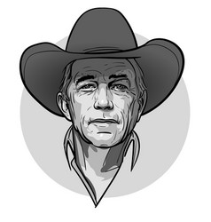 Classic old western style cowboy with hat and vector