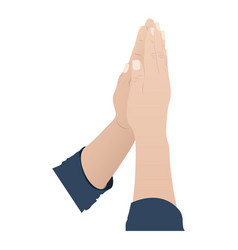 color silhouette of hands in position of pray in vector image