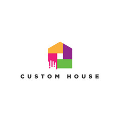 colorful house paint logo symbol icon vector image
