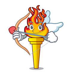 Cupid torch character cartoon style vector