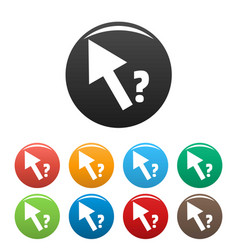 cursor question icons set color vector image