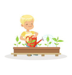cute happy boy watering plants from a watering can vector image
