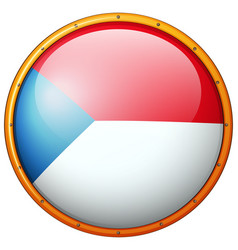 czech republic flag on round frame vector image