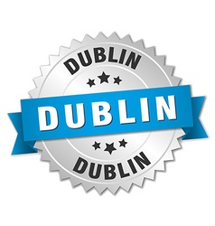 Dublin round silver badge with blue ribbon vector