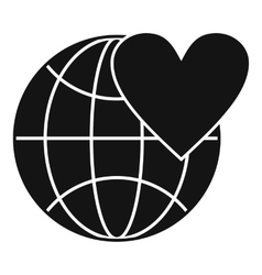 Earth world globe with heart icon simple style vector
