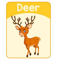 Educational english word card deer vector