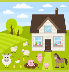 Farm with different animals vector