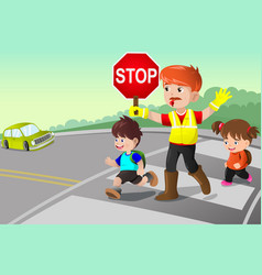 Flagger and kids crossing the street vector