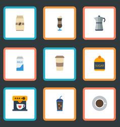 Flat icons mocha paper box moka pot and other vector