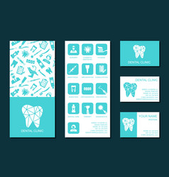Flyer and business cards for dental clinic vector