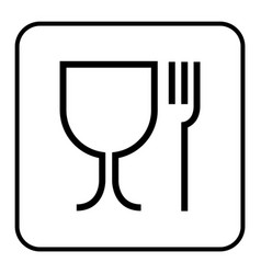 Food grade icon pictograph plastic contact fork vector