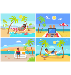 freelance workers at beach near sea with laptops vector image