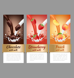 fruits and chocolate splashes template of vector image