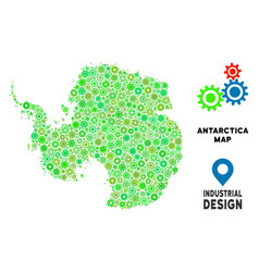 Gears antarctica map collage vector
