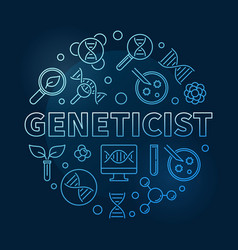 Geneticist concept blue round linear vector