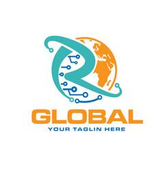 global circuit electric logo designs vector image
