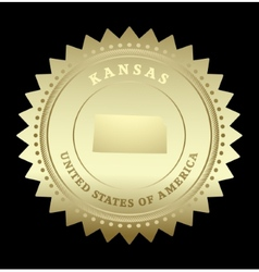 Gold star label Kansas vector