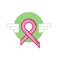 Green ribbon breast cancer wing vector