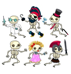 Group of funny skeletons vector